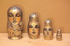 Nesting dolls  Matryoshka Babushka doll Golden Buddha by sersonart,