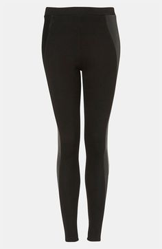 Topshop Faux Leather Panel Leggings | Nordstrom