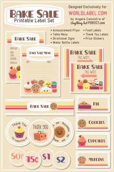 Bake Sale Label Set, designed by AnythingbutPerfect. A free exclusive download from WorldLabel.com :)