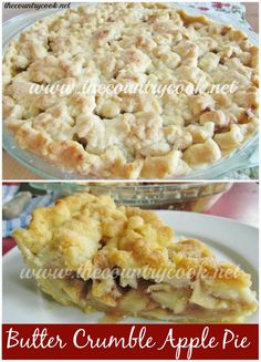 """Butter Crumble Apple Pie Recipe - Who doesn't have a special memory that involves pie? Whether it was how your Grandma or Mom lovingly prepared the perfect pie. Or the diner the next town over that makes """"The. Best. Pie. Ever."""" I love to eat pies and I like to make pies. And, I love when I actually have the time to do up one from scratch. We go apple picking every year and I look forward to making an apple pie. --- http://www.thecountrycook.net/2012/09/butter-crumble-apple-pie.html"""