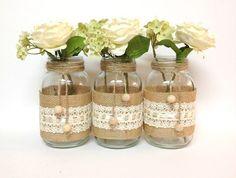 3 burlap and lace mason jars - home decor, wedding decor, country style vases, unique decor