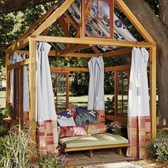 Scale this down for a lovely playhouse. You could make several sets of panels for different playtimes- camo for a fort, pink for a tea party, stars for a campout!