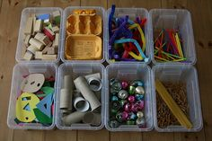 Make mini discovery boxes filled with open ended materials like pene pasta, pipe cleaners, toilet paper tubes, egg cartons, foam shapes, straws, small wooden blocks, and whatever else you can think of. Add them to the block are for a week, and rotat