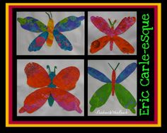 photo of spring bulletin board of Eric Carle style paintings