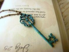 Vintage Skeleton Key necklace Antique style Key Verdigris blue Pendant Key on Etsy, $20.00