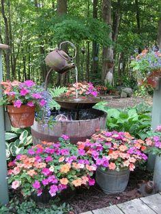 Flower fountain around the wishing well