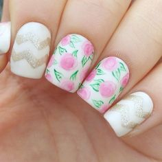 Chevron and floral nails