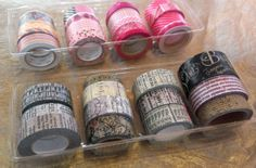 """""""Before you throw away your food containers, check them out with storage solutions in mind.  These cracker/cookie inserts make for a perfect way to organize your decorative tapes. -Rhea"""" #graphic45 #craftorganization2014"""