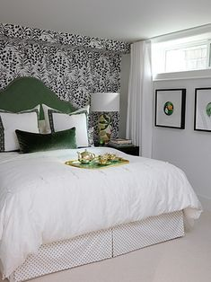 sarah richardson, headboard, basement bedrooms, green, guest bedroom, black white, hous, guest rooms, accent walls