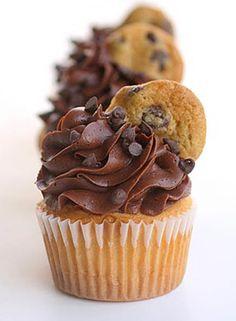 Cookie Dough Stuffed Cupcakes. #cookie #food #dessert #recipe #chocolate
