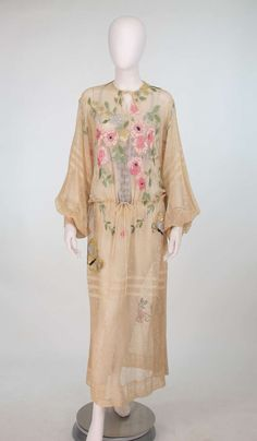 1920s Aesthetic movement embroidered net dress.