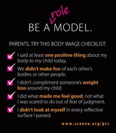 Are you trying to be a model, or a ROLE model for your kids? Great positive body image checklist for parents.