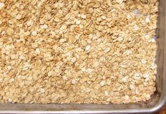 Old Fashioned Oats Granola (E): 4 cups old fashioned oats, 2-3 Tbsp. sweetener, 2 Tbsp. virgin coconut oil, ½ tsp vanilla extract or almond extract, 1 large pinch fine sea salt.  Mix ingredients well.  Spread evenly on baking tray.  Bake in oven 300 degrees for 10 minutes.  Toast longer until desired crunchiness, stirring every 10 minutes.  Excellent with sweetened Greek yogurt and berries (like a parfait) or eaten stand alone with a protein smoothie.