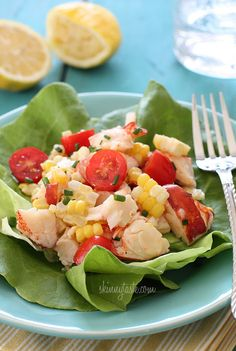 Chilled Lobster Salad with Sweet Summer Corn and Tomatoes | Skinnytaste#more