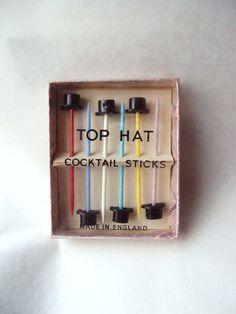 vintage top hat cocktail sticks: DIY with miniature top hats, hot glue, and plain swizzle sticks?