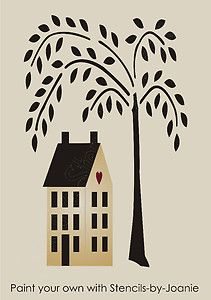 free primitive stencils | Primitive-STENCIL-10-5-tall-Willow-Tree-6-t-Saltbox-House-Country-Home ...