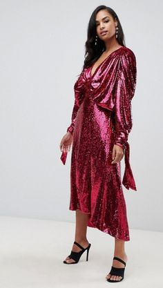 Red Glitter Party Dress ASOS