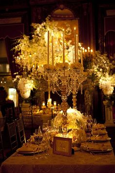 stunning centerpiece! table settings, centerpiec, table scapes, candl, head tables, david tutera, flower, prom themes, parti