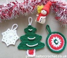 Free crochet pattern christms tree decorations usa