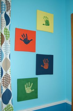 Idea for boy's room. This is cute and the colors go perfectly with the boy's room too!