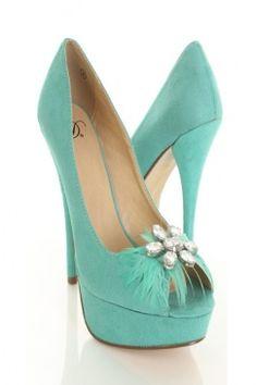 shoes, shoe bride, color shoe, teal heel, tiffany blue, brides, awesom color, something blue, feather