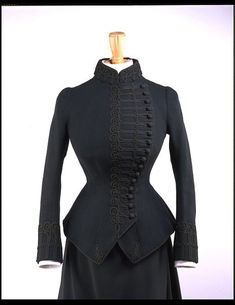 Riding Jacket - 1885-1886 - The Victoria & Albert Museum - For much of the nineteenth century fashionable women wore dark woollen tailored jackets inspired by men's coats. Many women's jackets were embellished with details borrowed from military uniform. Braiding was a popular form of decoration inspired by ornamentation on regimental dress as well as the flamboyant hussar designs.