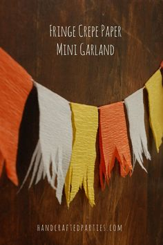 {Candy Corn Week} glitter playdough, Halloween packaging + mini fringe crepe paper garland {Handcrafted Parties}
