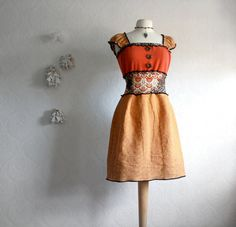 Women's Bohemian Upcycled Dress Rust Mustard Gold Boho Clothing Leopard Cashmere Medium 'MAPLE SUGAR'