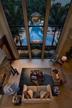 interior design, living rooms, window, pool, floor plan, dream homes, the view, dream hous, high ceilings