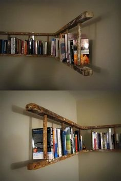 Cool idea... vintage ladder bookcase. Love using old things to decorate with... adds a lot of character to a room. ✅ vintage room diy, diy room decor vintage, ladder decor, vintage bookcase, vintage ladder, diy bookcase ideas, diy vintage decor, vintage room ideas, diy bookcases