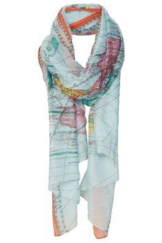 Map Print Scarf. fashion, style, accessori, maps, map scarf, scarves, prints, print scarf, map print