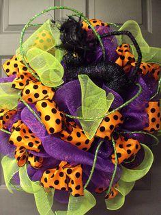 Halloween Wreath, Fall Wreath, Black Cat Wreath, Art Mesh Wreath, Door Wreath, Front Door Wreath