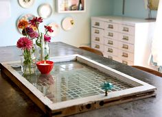 Old window etched glass tray.  This is a really beautiful, unique way to recycle an old window that you could find at a thrift store. This person customized it further by using a map of a place she had been for the design template. Beautiful!