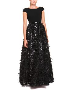 Spotted this Theia Black Mesh Embellished Belted Gown on Rue La La. Shop (quickly!).
