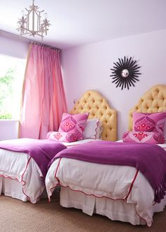 Pink and purple bedroom with red and yellow accents / #bedroom
