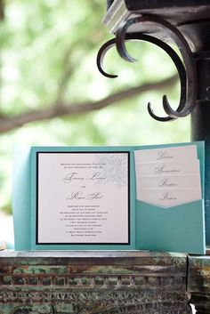 black and teal wedding | black and teal wedding invitation idea