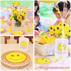 Happy! theme party- Smiley Faces- cute and creative fun birthday party ideas - Frosted Events www.frostedevents.com #kidsparty #partyideas #becauseimhappy #happytheme #happy