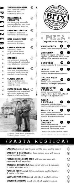 Brix Pizzeria menu1