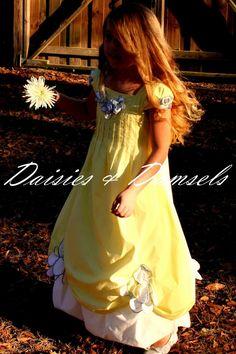 Yellow white blue flower girl dress Custom by DaisiesandDamsels, $299.00