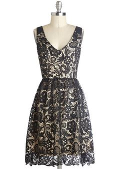"""Med School Mixer Dress"", #ModCloth I love for its v-neck, flowing skirt, and black lace that extends slightly below the lining."