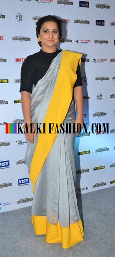 http://www.kalkifashion.com/  Vidya Balan opted for a grey  Payal Singhal saree to attend the Indian Film Festival of Melbourne Press meet