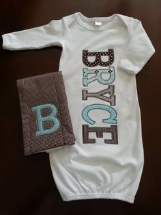 Custom Appliqued Baby Name Gown-6 Letters..I can do this now I have a new sewing machine that does all kinds of tricks and a Serger  !! ♥ ♥