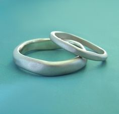 River Wedding Bands  Sterling Silver by esdesigns on Etsy