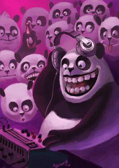 DJ Panda spins the mix #dj #panda #headphones