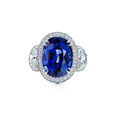 Sapphire Engagement Ring with side diamonds