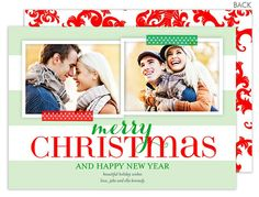 Modern Holiday Bold Stripe Holiday Photo Cards