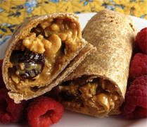 Peanut Butter Granola Wraps for 'brown bag' lunch ideas