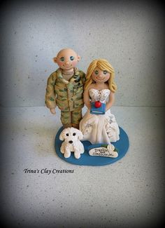 Military and Teacher Wedding Cake Topper that includes One Pet! ~ By Trina's Clay Creations