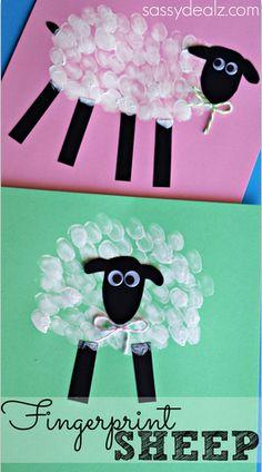 Fingerprint Sheep Craft! #Easter craft for kids | http://www.sassydealz.com/2014/03/fingerprint-sheep-craft-kids.html