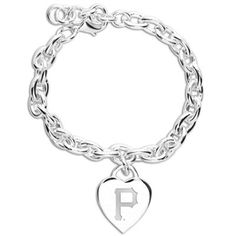 Pittsburgh Pirates Ladies Silver Heart Charm Bracelet